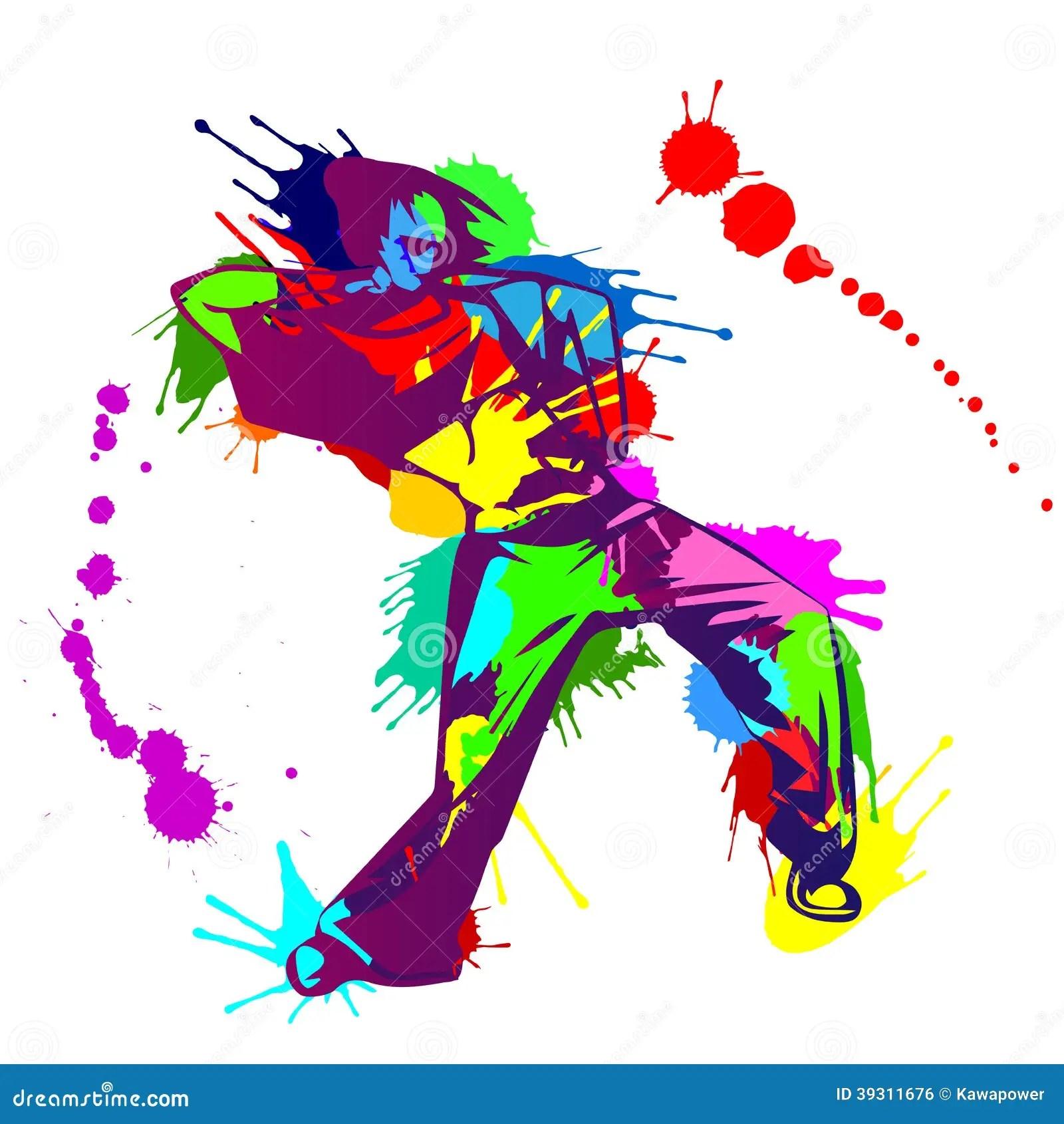 Boy Kick Girl Wallpaper Girl Hip Hop Dancer With Colorful Paint Splashes Stock