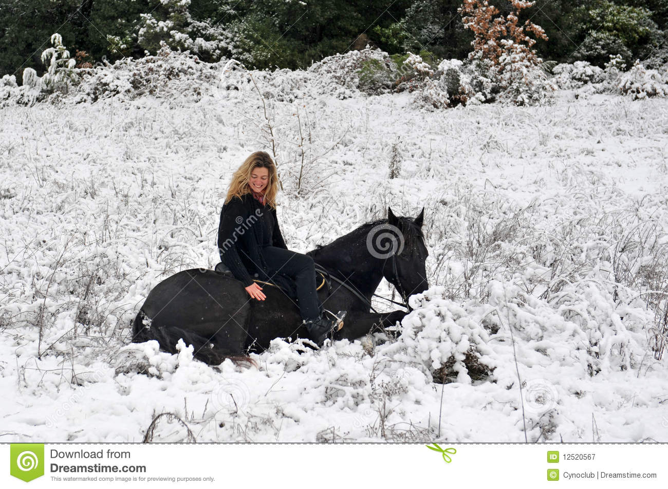 Running Horse 3d Wallpaper Girl And Horse In Snow Royalty Free Stock Photography