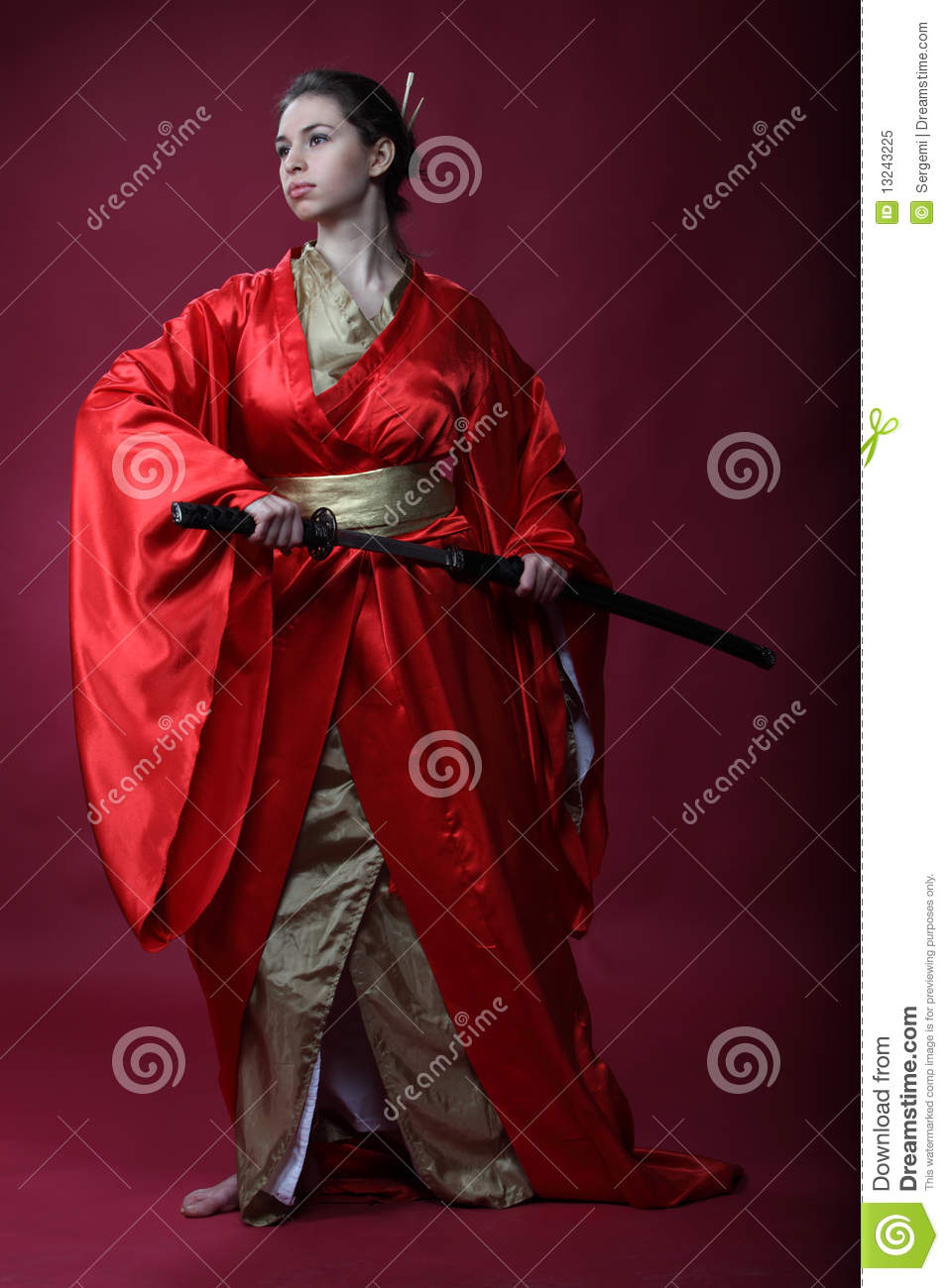 Japanese Samurai Girl Wallpaper Girl In A Kimono With A Katana Stock Image Image Of