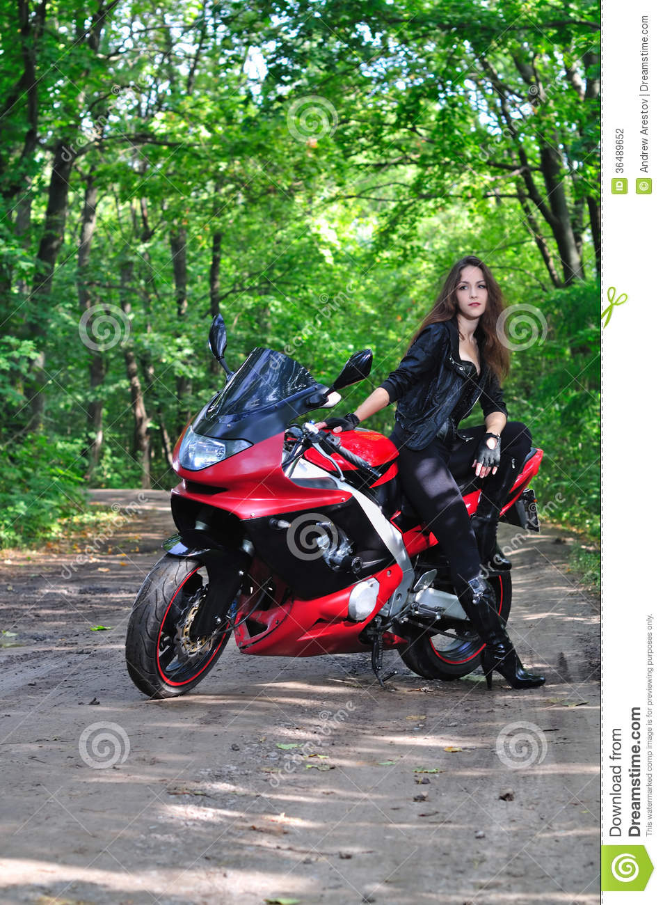 Biker Girl Wallpaper Free Download The Girl Near A Sports Bike In The Woods Stock Photo