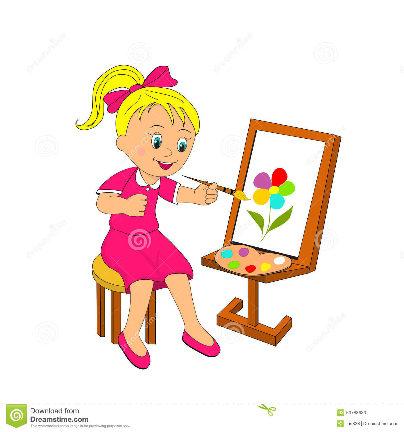 Girl Paints Flower On An Easel Stock Vector Illustration - Pinsel Malen