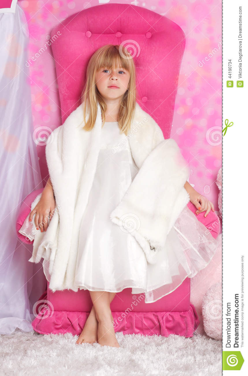 Wallpaper Pink Girl Cartoon Girl Princess Is Sitting On A Pink Throne Stock Photo