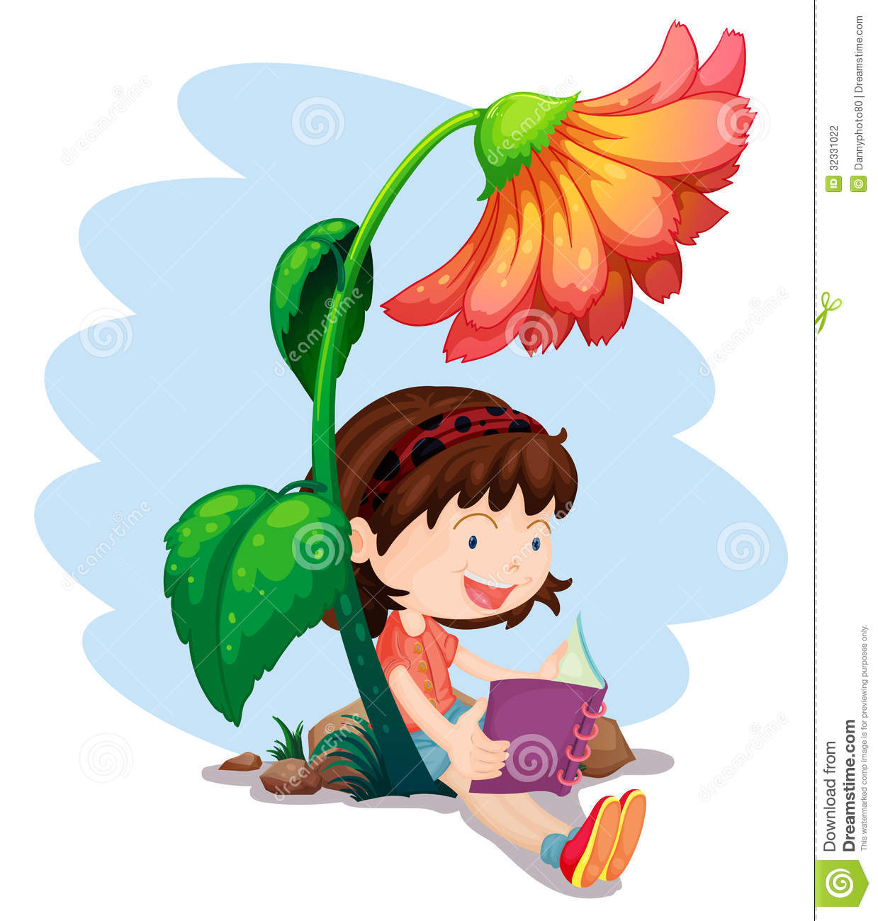 Girl In A Tree Reading A Book Wallpaper A Girl Reading A Book Below The Giant Flower Stock Vector