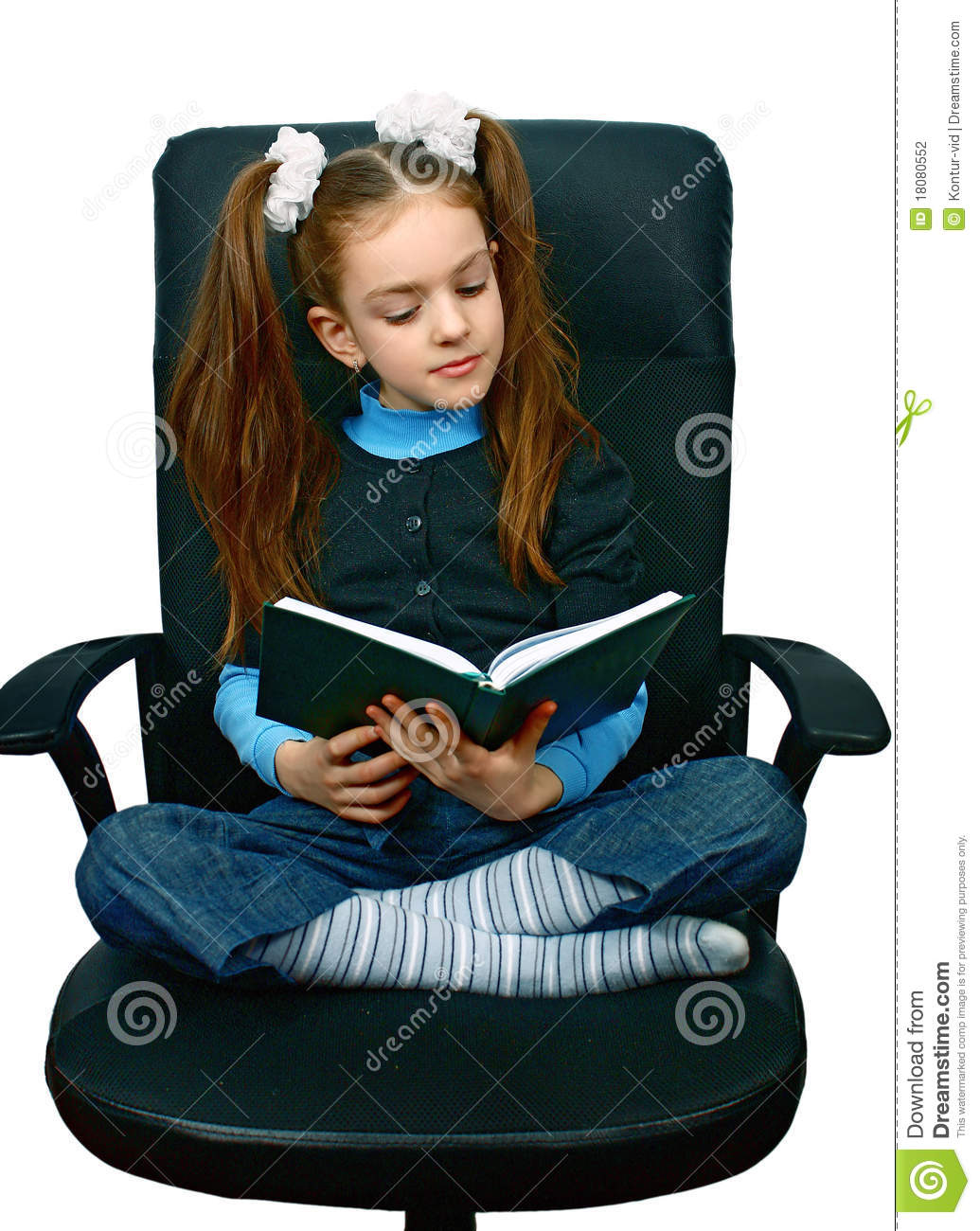 Cute Reading Chairs Girl Reading A Book In Chair Stock Photo Image Of Black
