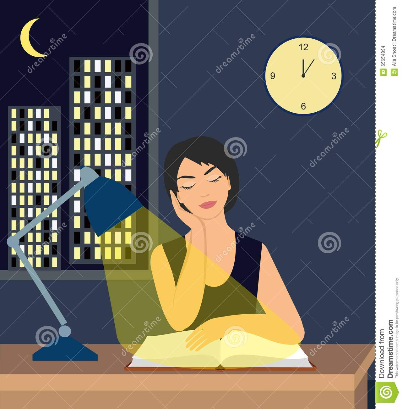 Night Table Clipart Girl Reading A Book Under A Table Lamp On The Table