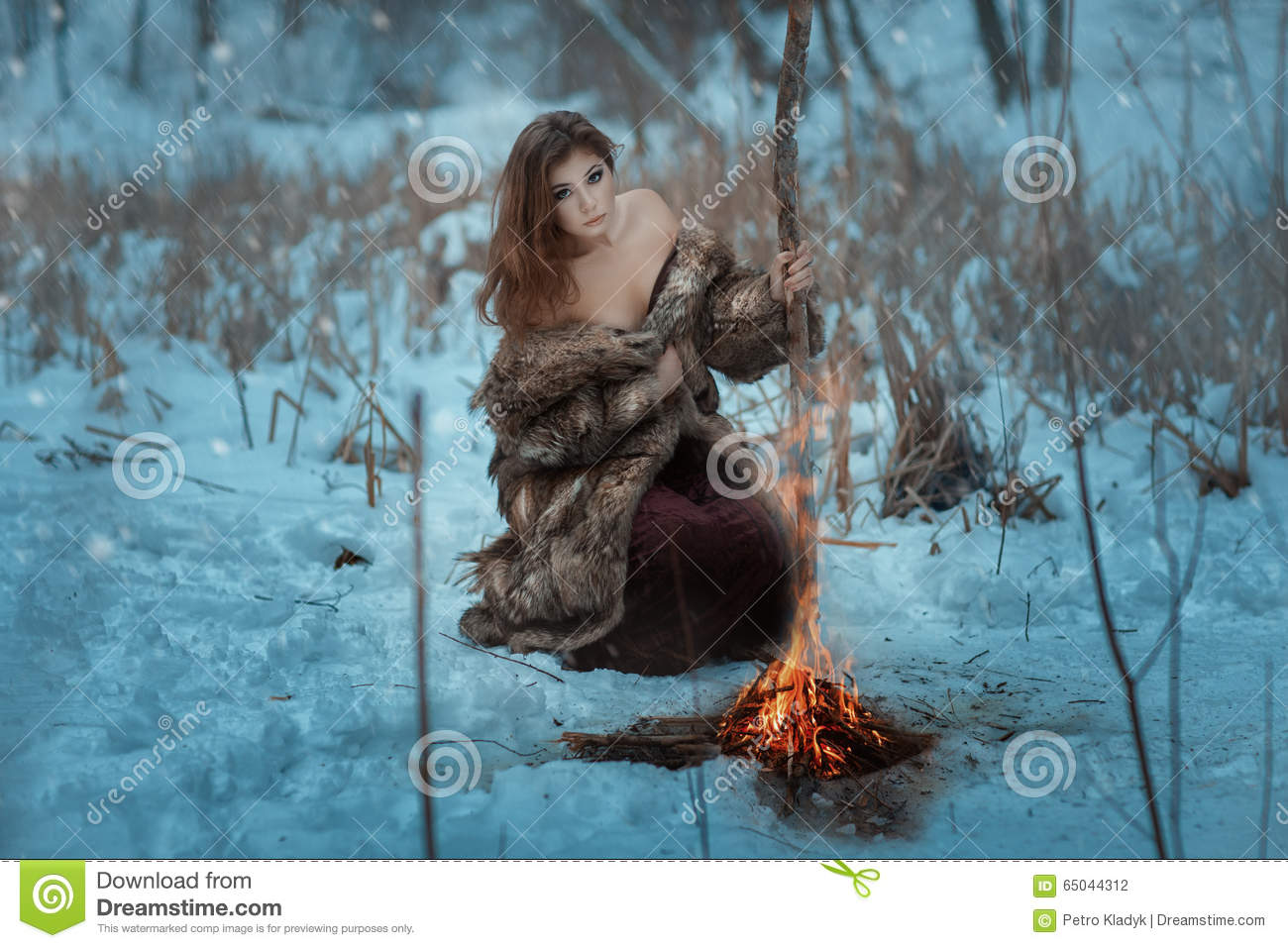 Girl Vector Wallpaper Girl Shaman Is Heated By Fire In Winter Forest Stock