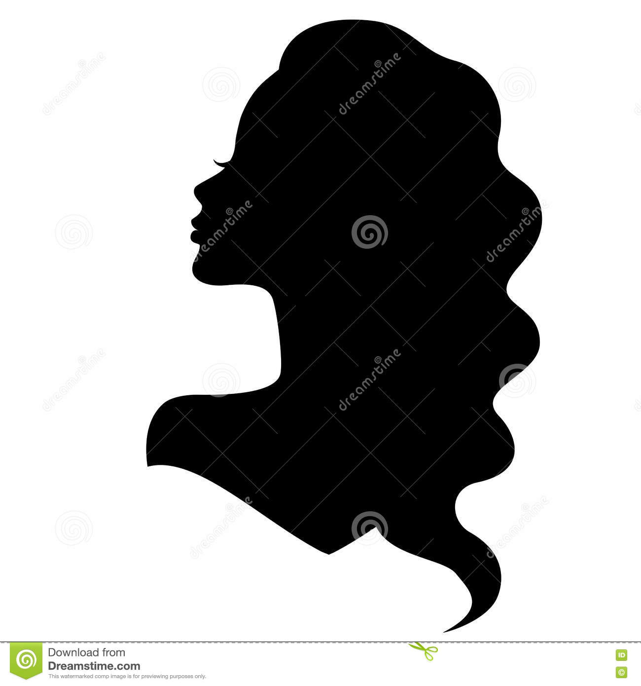 Sweet Girl Face Wallpaper Girl Silhouette With Beautiful Hair Stock Vector Image