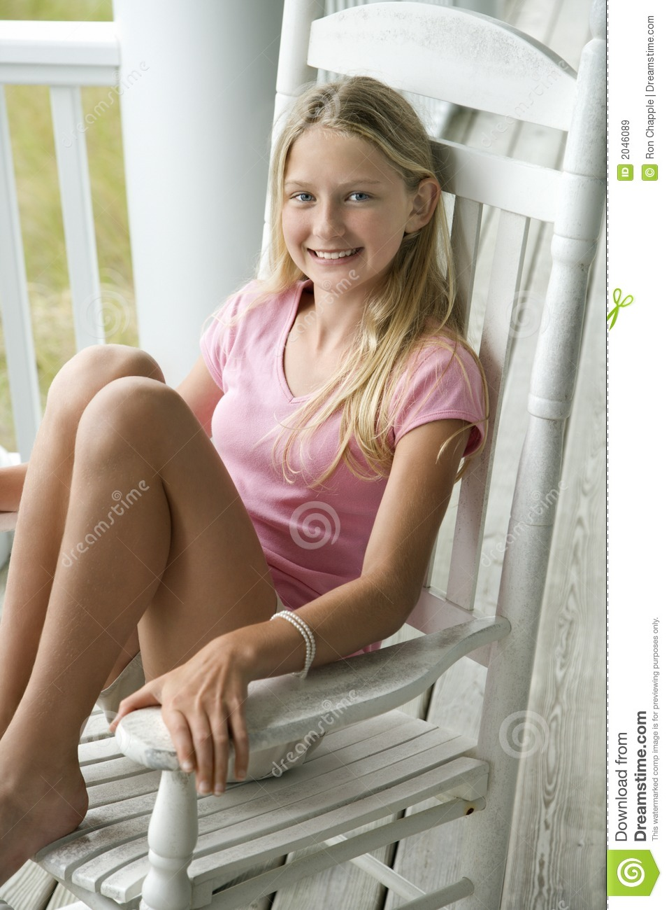 Cute Wallpapers For Tween Girls Girl Sitting In Chair Royalty Free Stock Images Image
