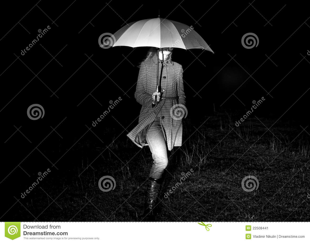 Girl Night Lights Girl With Umbrella At Night In Lights Stock Image Image Of
