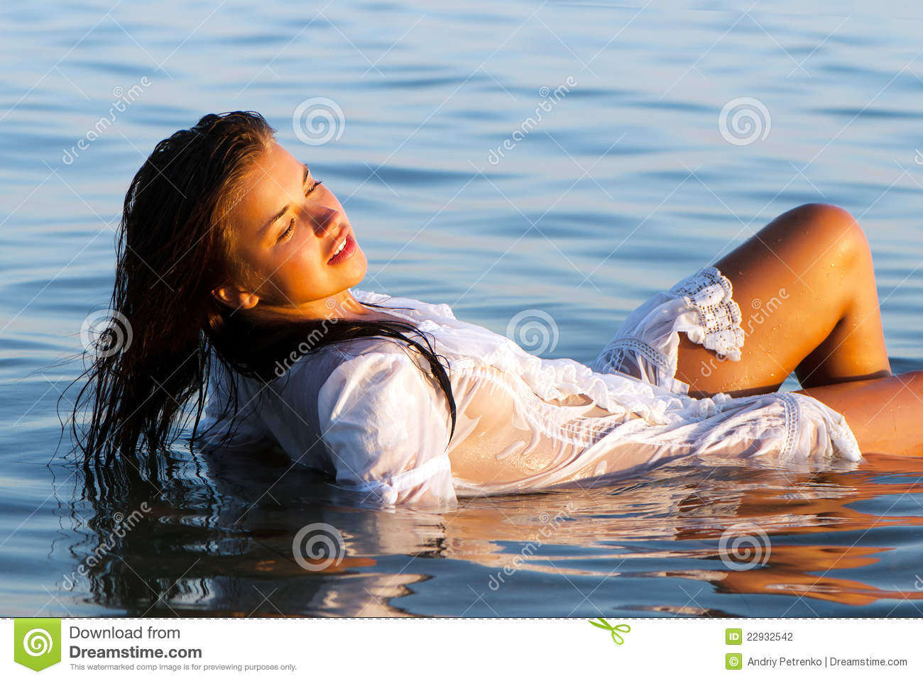 Ragazza Bagnata Girl In A White Wet Transparent Dress Stock Photo Image