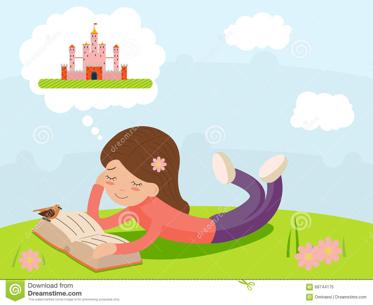 Cute Stylish Child Girl Wallpaper Girl Young Happy Smiling Reading Book Lying On Nature