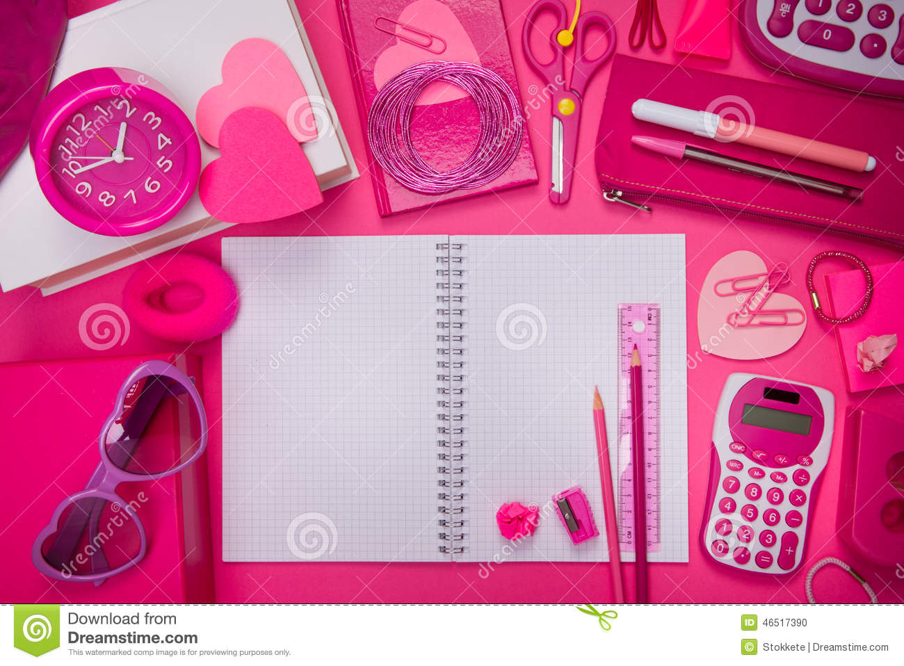 Pink Heart Wallpaper Hd Girly Pink Desktop And Stationery Stock Photo Image