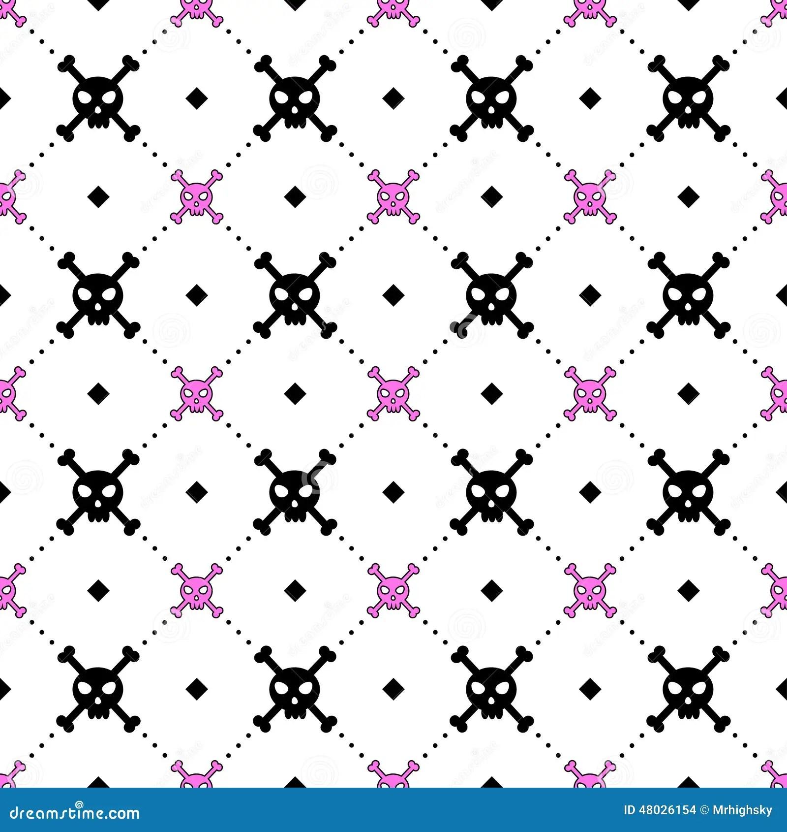 Skeleton Pattern Wallpaper Cute Girly Skull And Bones Pattern Stock Vector Image 48026154