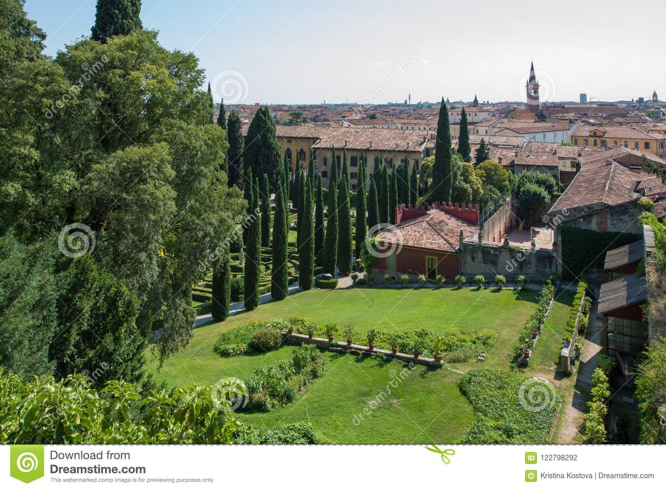 Giardino Italian Giusti Gardens Verona Italy Tall Cypress Trees Stock Photo