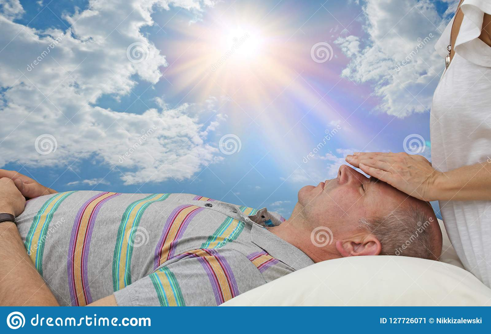 Healing Treatment Giving An Energy Healing Treatment Out Doors Stock Image Image