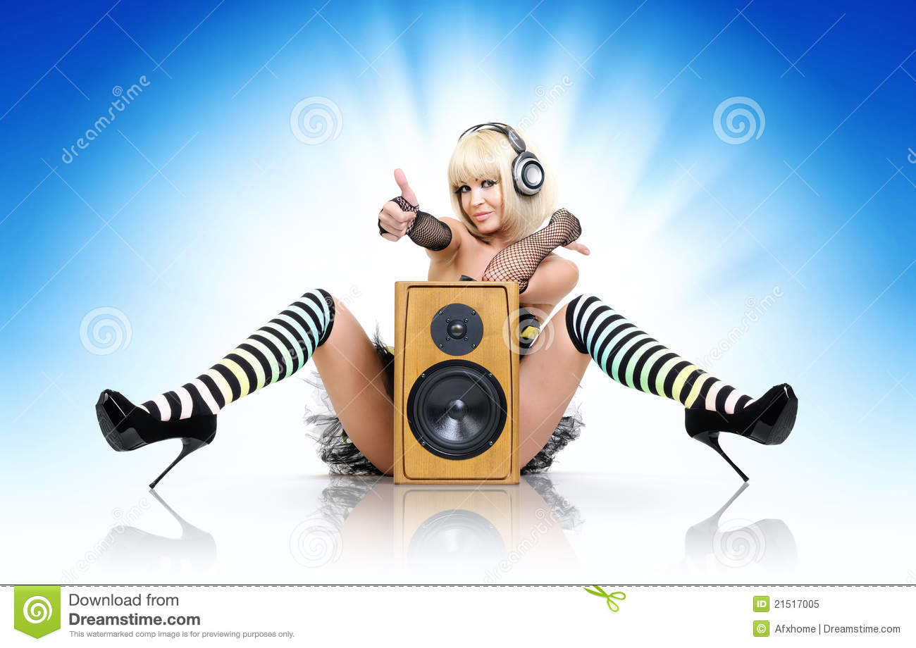 Santa Claus Wallpaper Hd Glamorous Sexy Party Girl With Speaker Royalty Free Stock