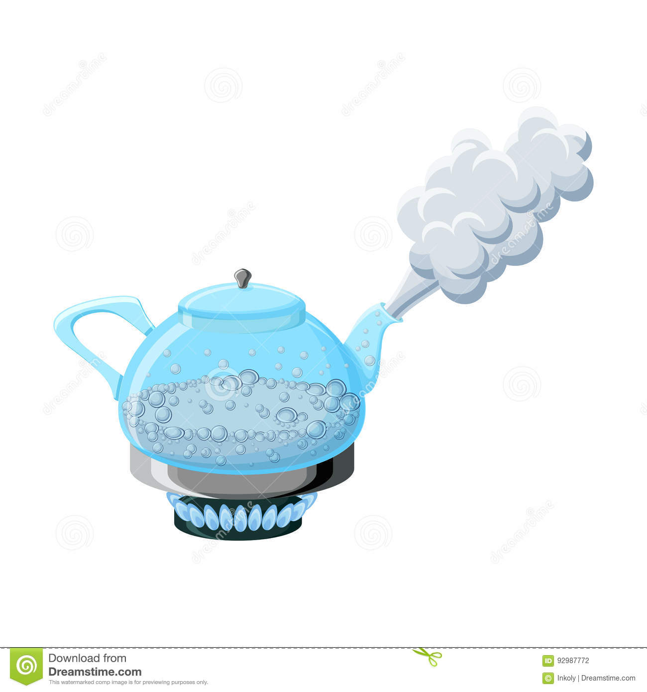 Wasserdampf Clipart Glass Kettle With Boiling Water And Steam Stock Vector