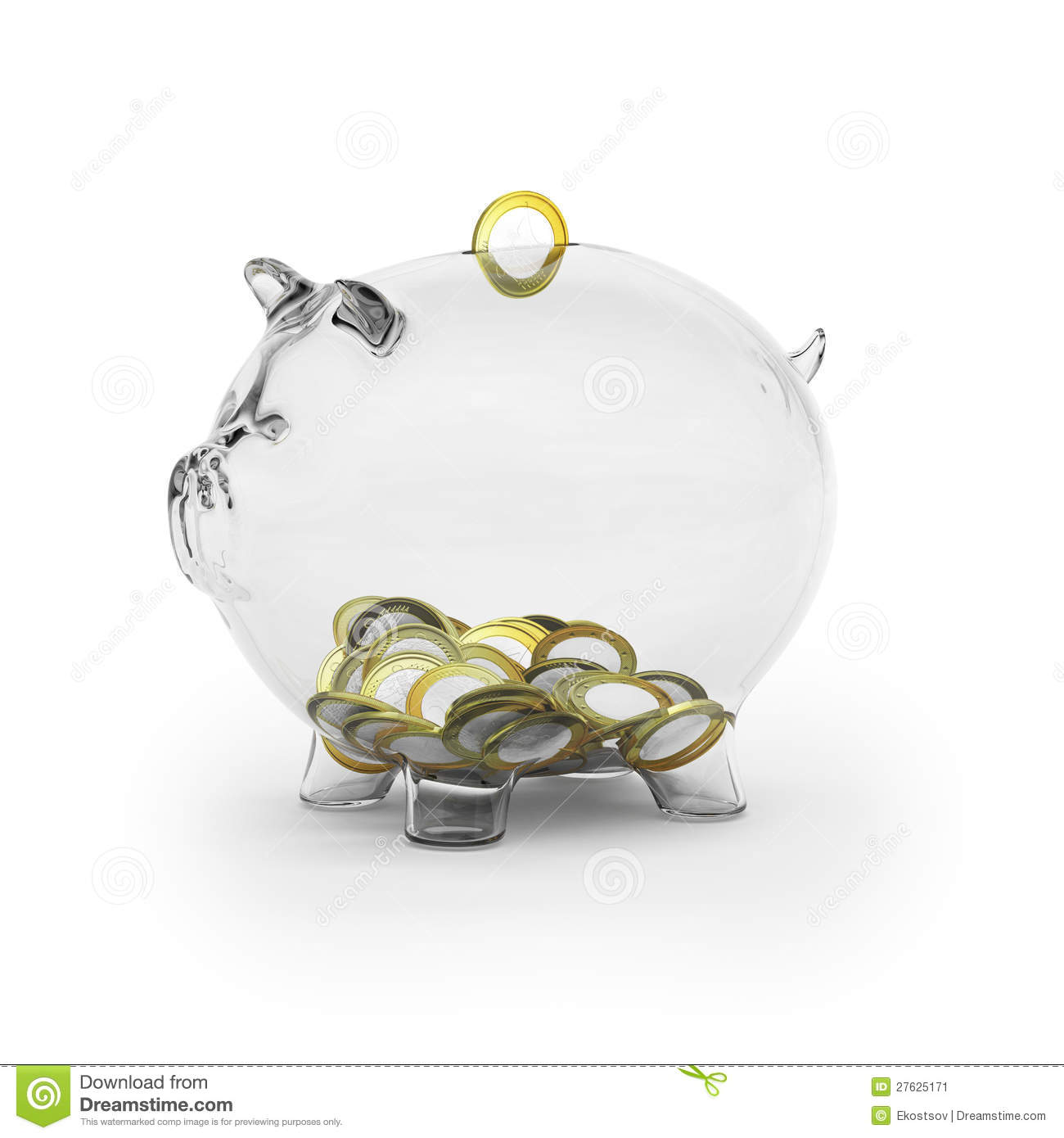 Piggy Glass Glass Piggy Bank With Euro Coins Stock Image Image 27625171