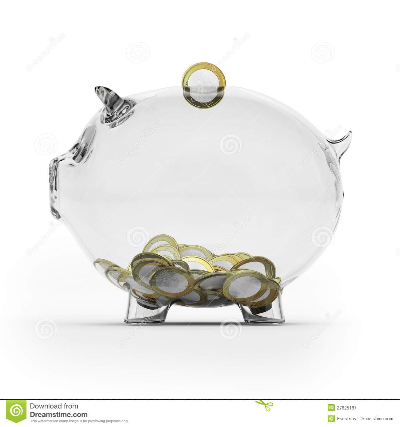 Piggy Glass Glass Piggy Bank With Euro Coins Side View Royalty Free