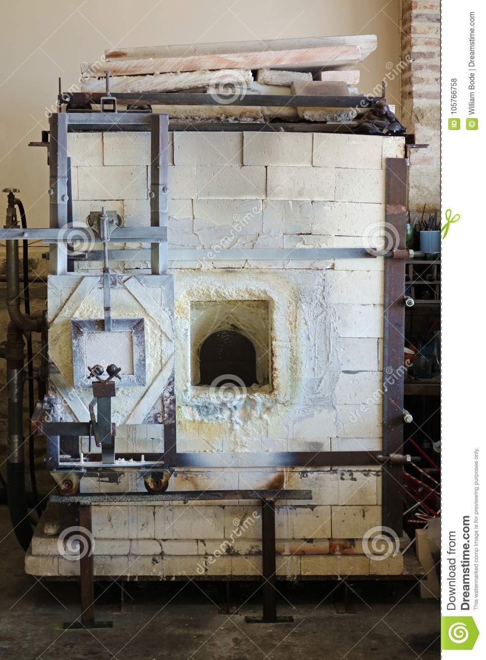 Refractory Brick Glassblowing Refractory Brick Glory Hole Furnace Stock Photo