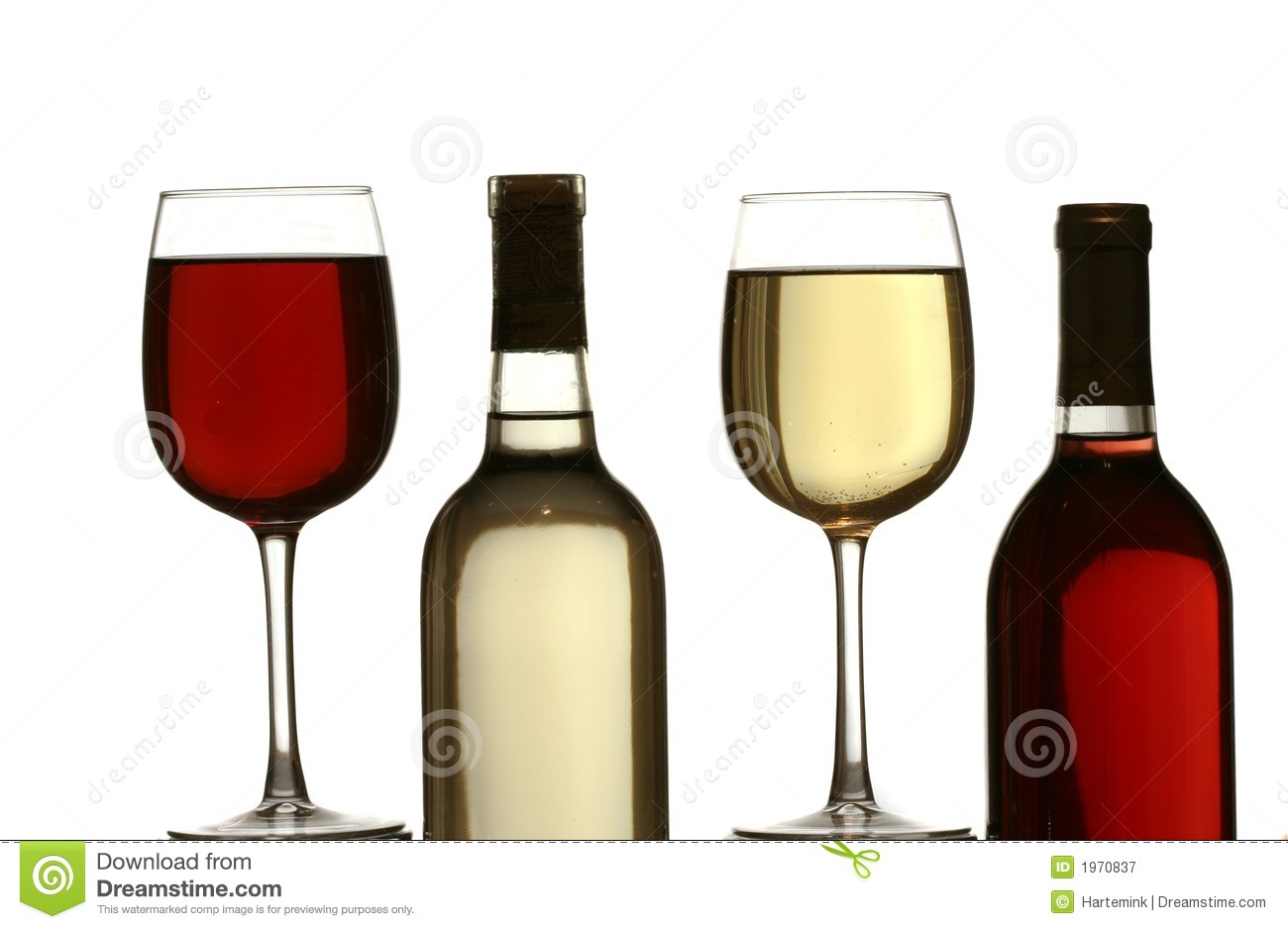 Bouteille Blanc Glasses Of Red And White Wine, With Red And White Wine