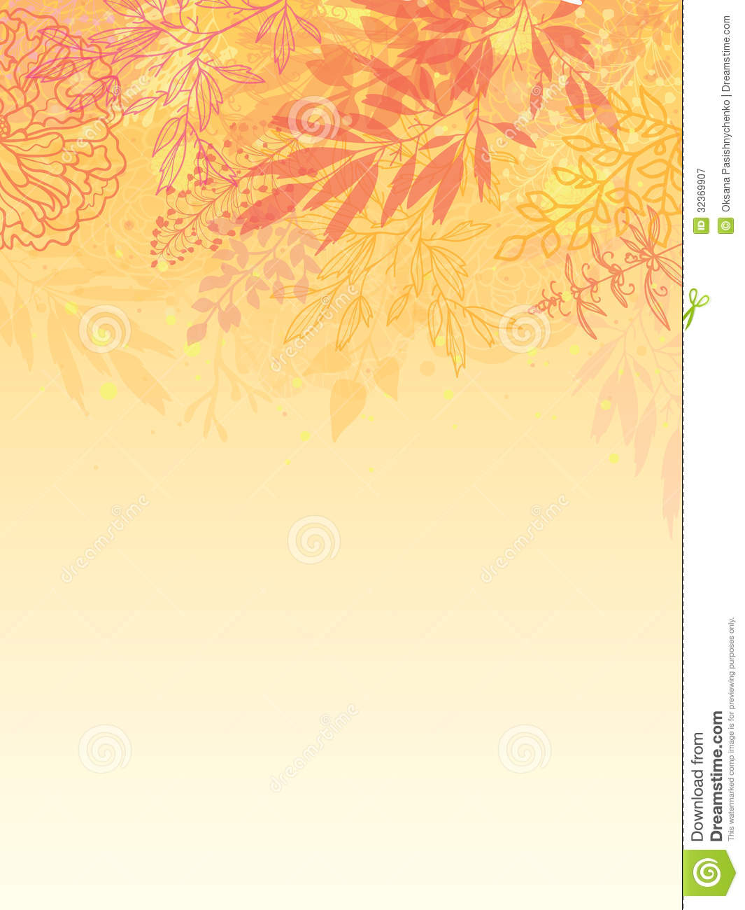 Fall Leaves Wallpaper Border Glowing Fall Plants Vertical Background Stock Vector