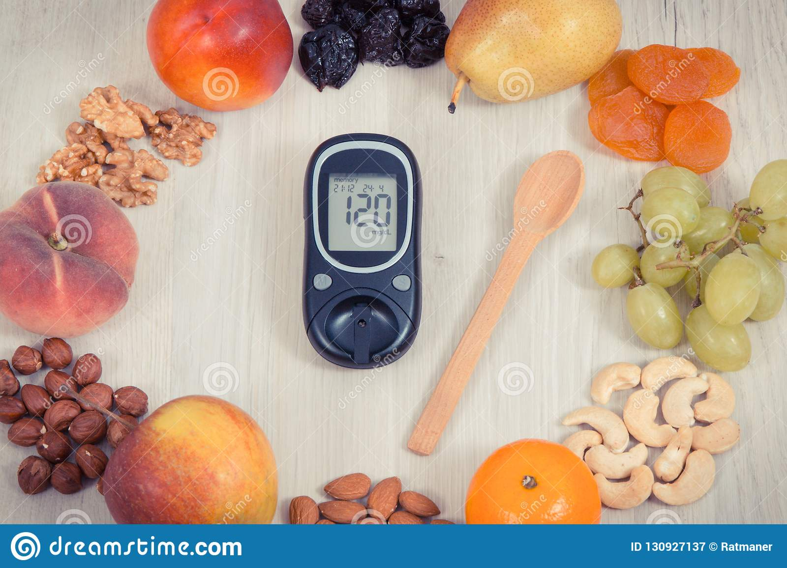 Diabetes Nutrition Glucose Meter With Result Of Measurement Sugar Level And Healthy