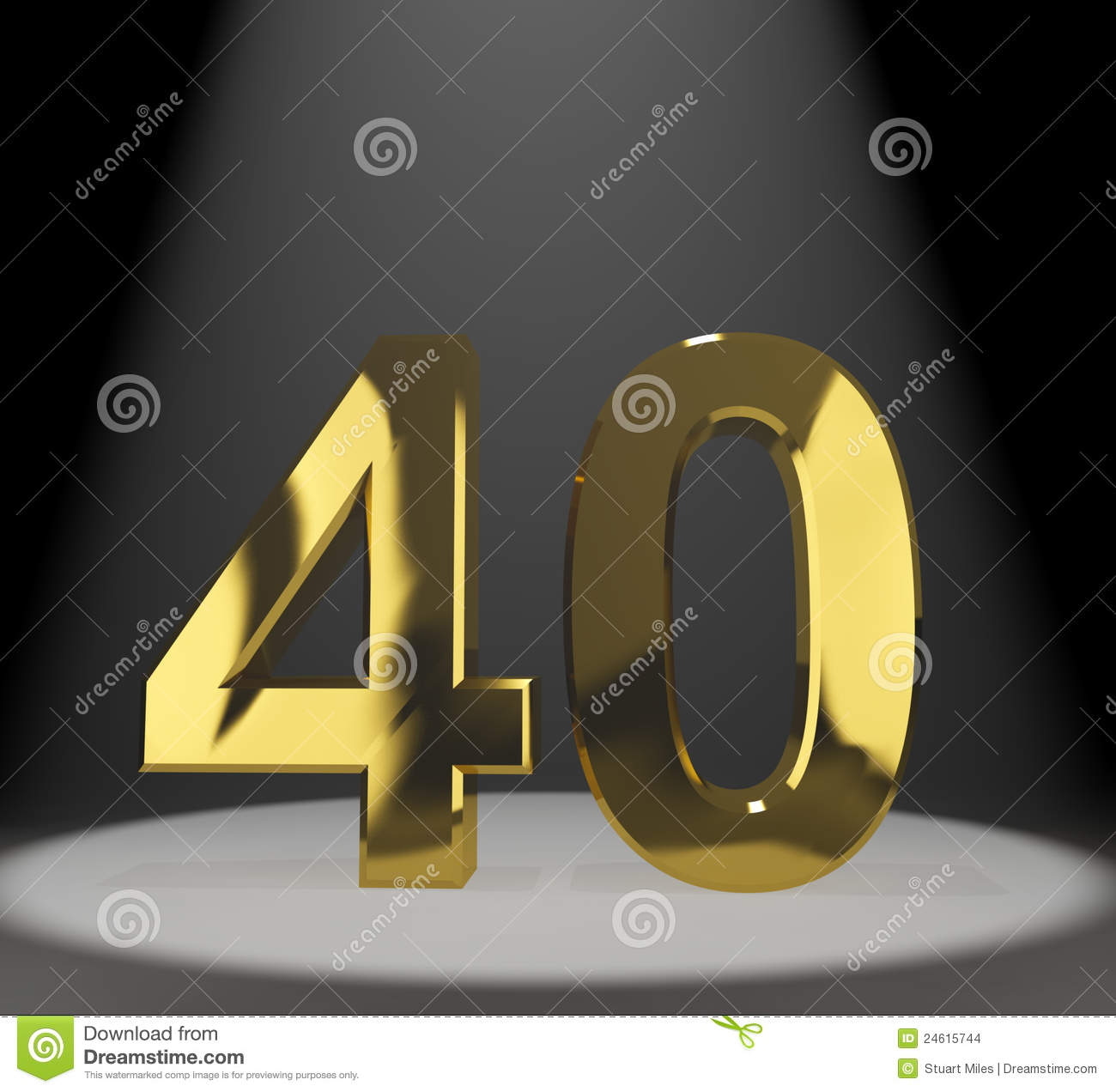 Golden 40 Gold 40th Or Forty 3d Number Stock Images - Image: 24615744