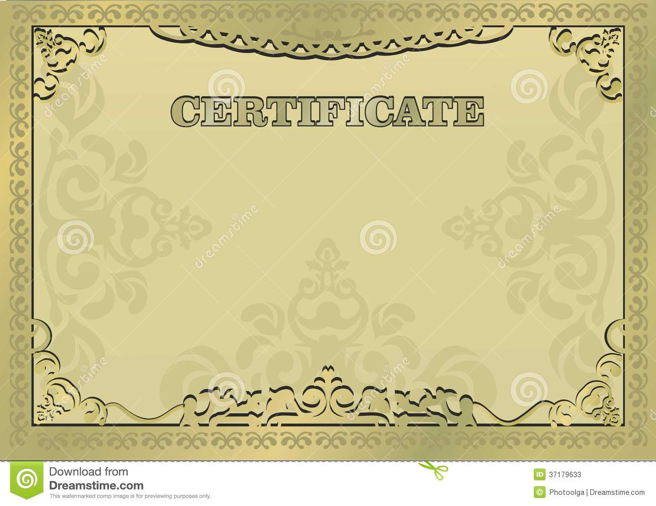 Free certificates templates borders frames and more gold certificate ornamental gold border eps 10 stock yadclub Image collections