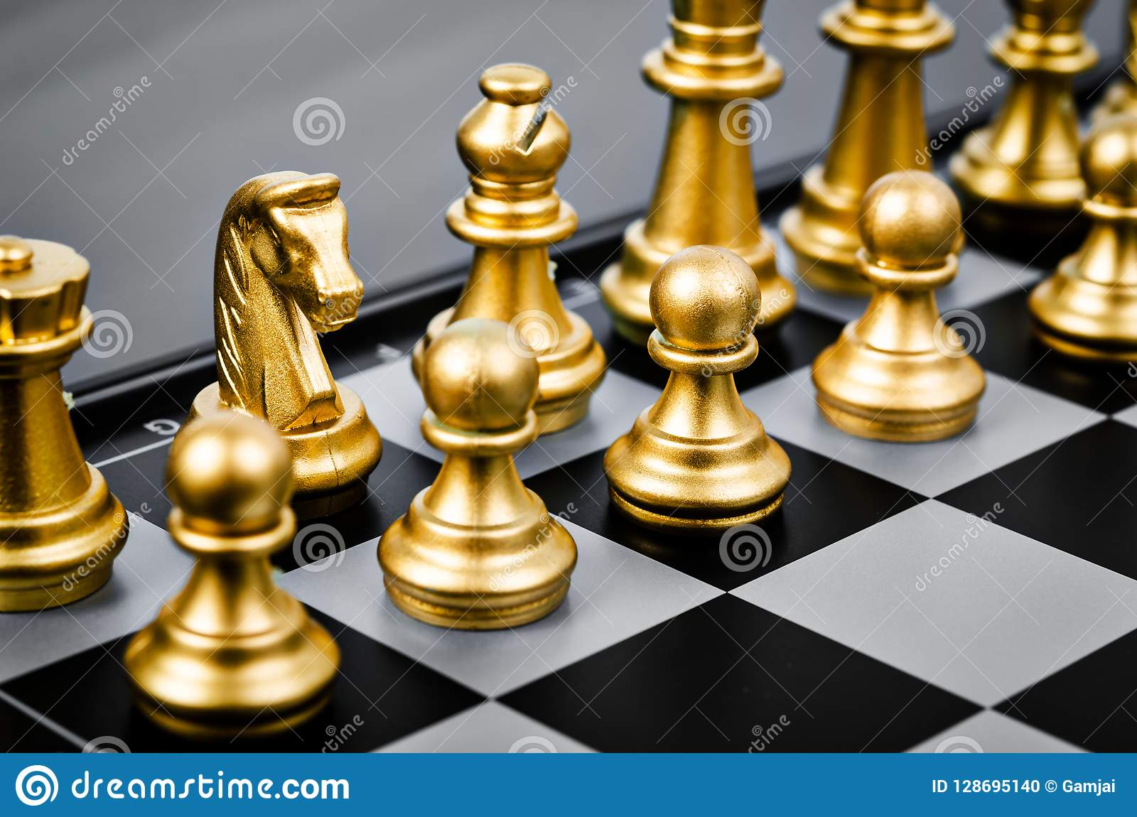 Gold Chess Pieces Gold Chess Pieces Stock Photo Image Of Pawn Metal 128695140