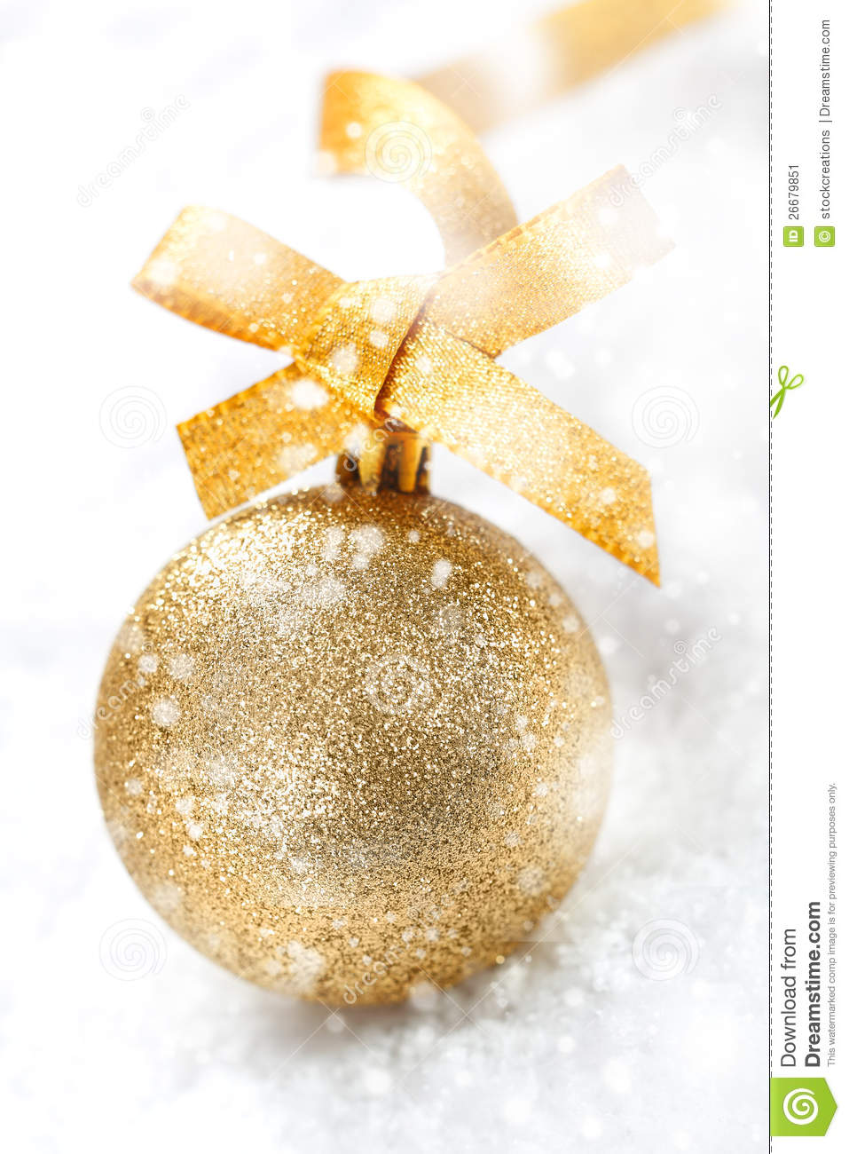 Snow Falling Video Wallpaper Gold Christmas Ball In Falling Snow Stock Image Image