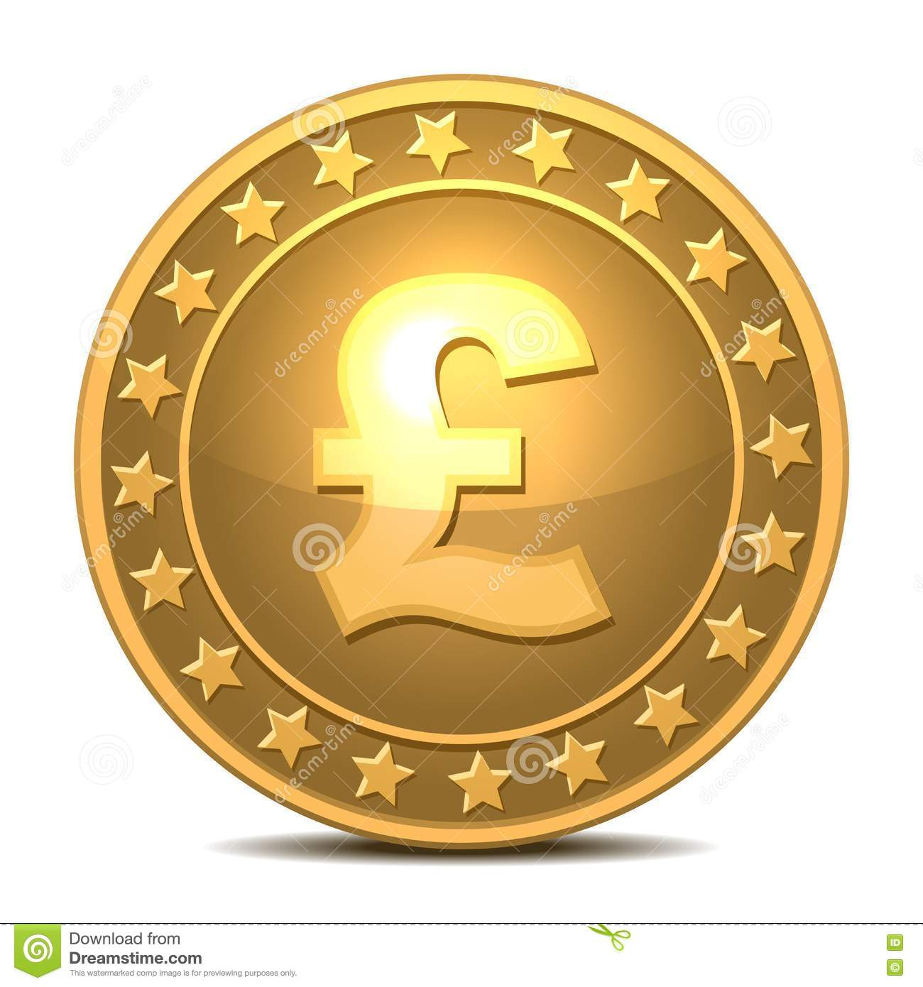 Libra Esterlina Euro Gold Coin With Pound Sterling Sign Stock Illustration