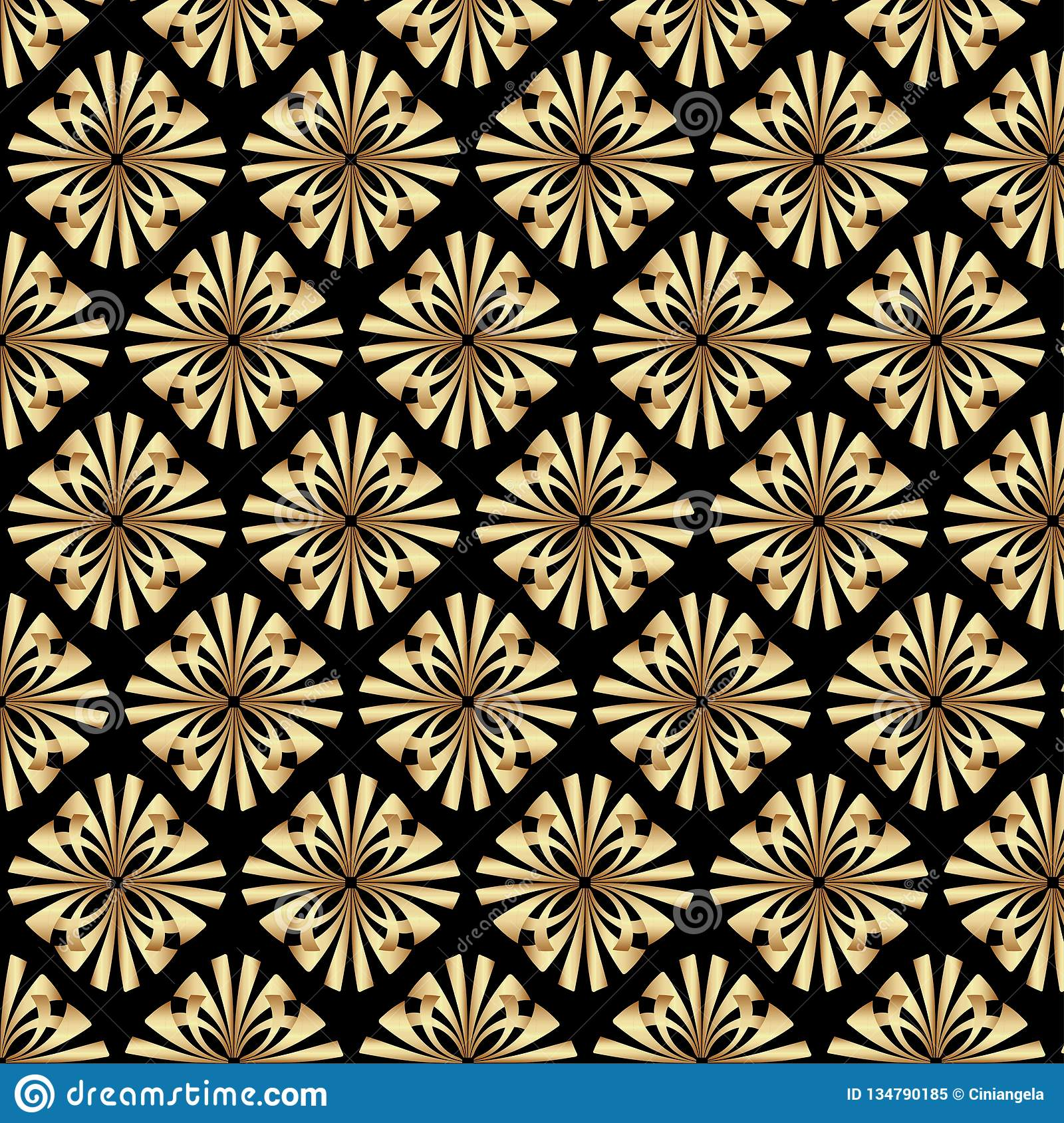 Art Deco Style & Light Gold Gatsby Art Deco Floral Pattern Background Design Stock