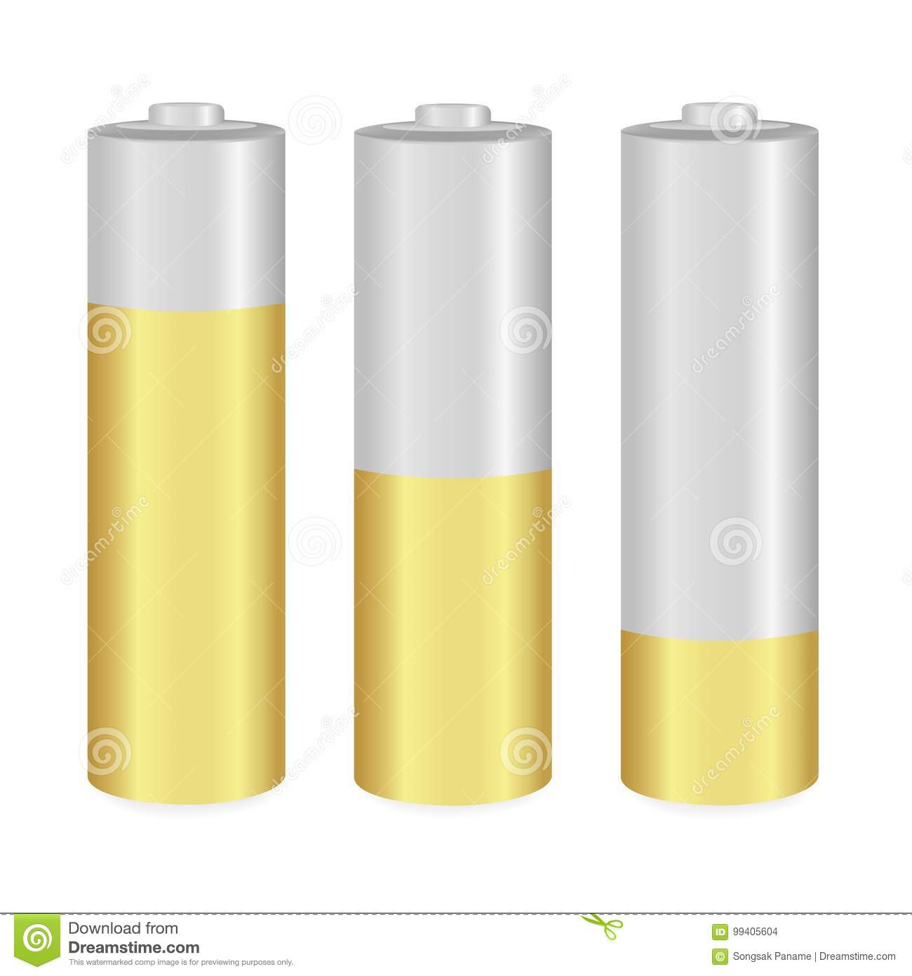 Batterie Aa Gold And Metallic Aa Batteries Over White Background Stock Vector