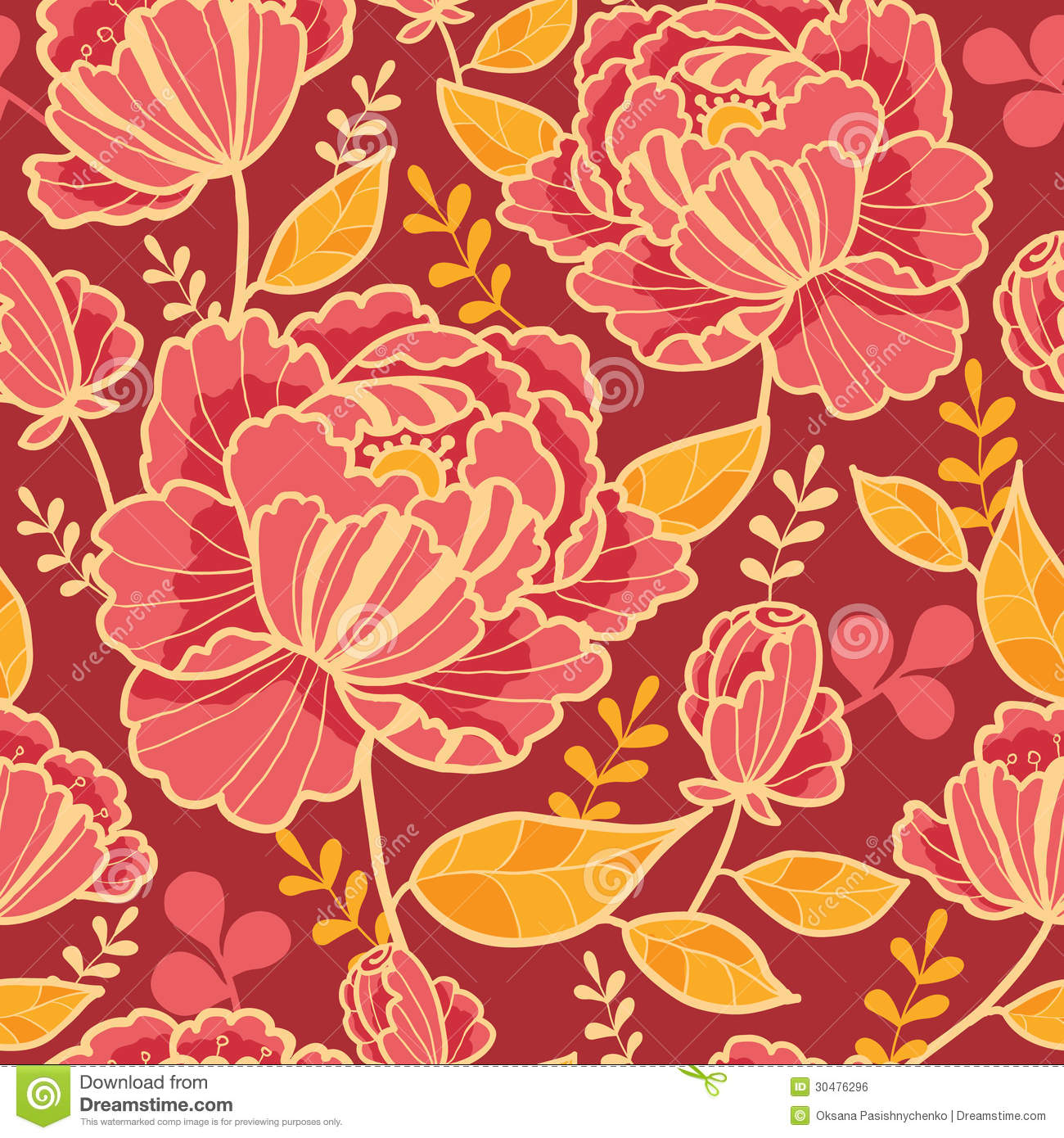 Fall In Love Leaf Wallpaper Gold And Red Flowers Seamless Pattern Background Royalty