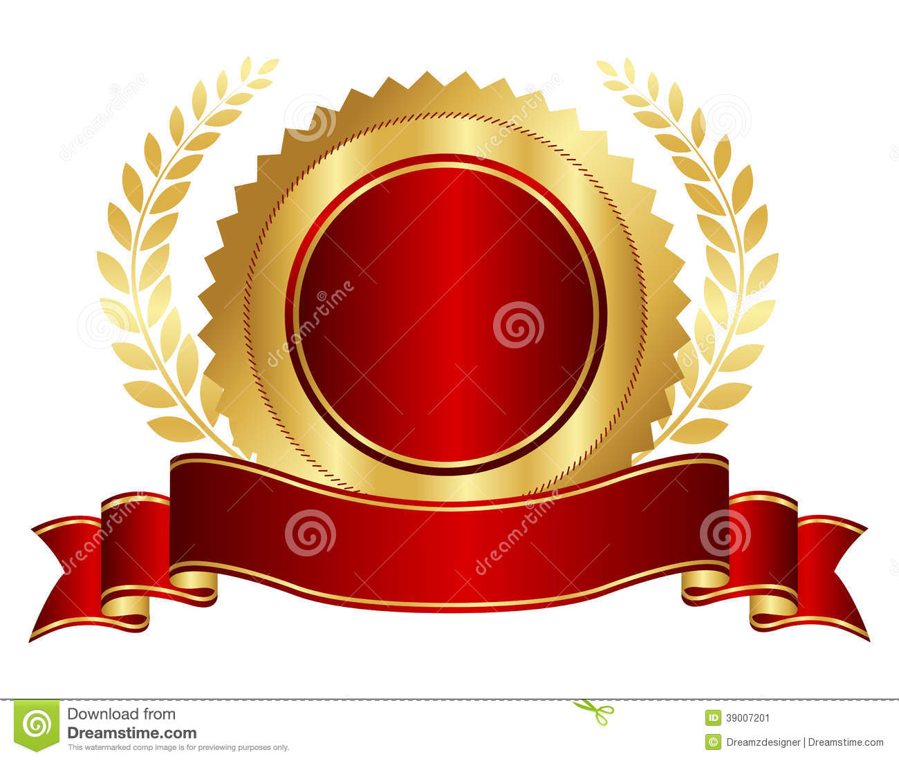 As Royal Decor 3d Wallpaper Gold And Red Seal With Ribbon Stock Vector Illustration