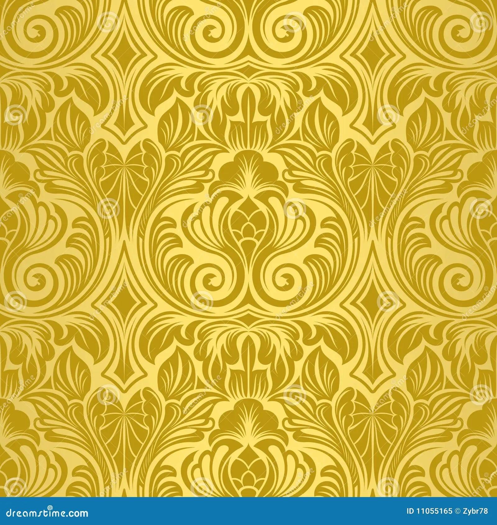 Purple And Black Damask Wallpaper Gold Seamless Wallpaper Stock Vector Illustration Of