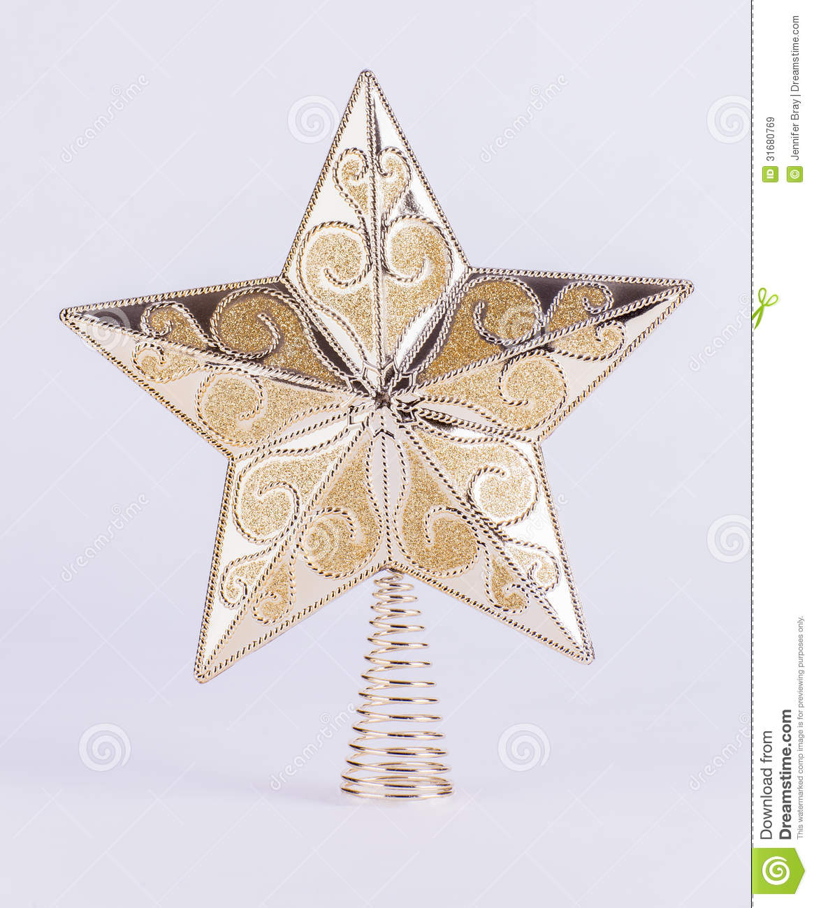 Gold star christmas tree decoration on white background royalty free