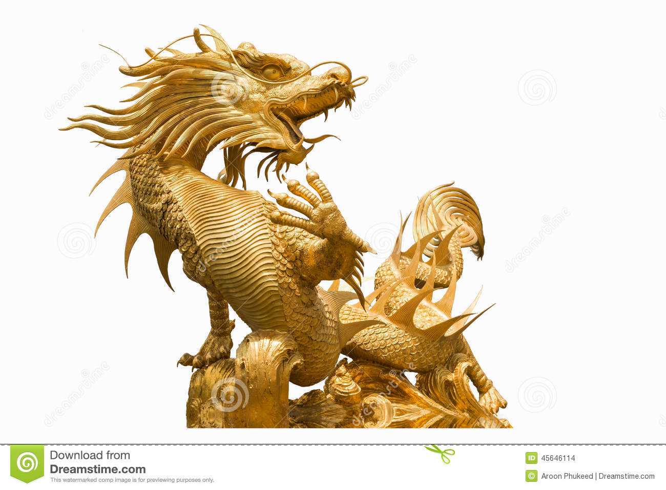 Giant Dragon Statue Golden Chinese Dragon Statue On Isolate Background Stock