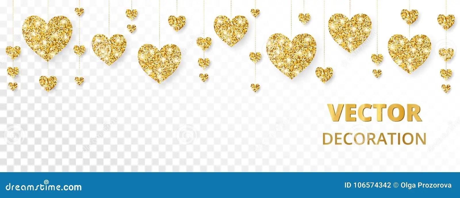 Golden Hearts Frame, Border Vector Glitter Isolated On White For