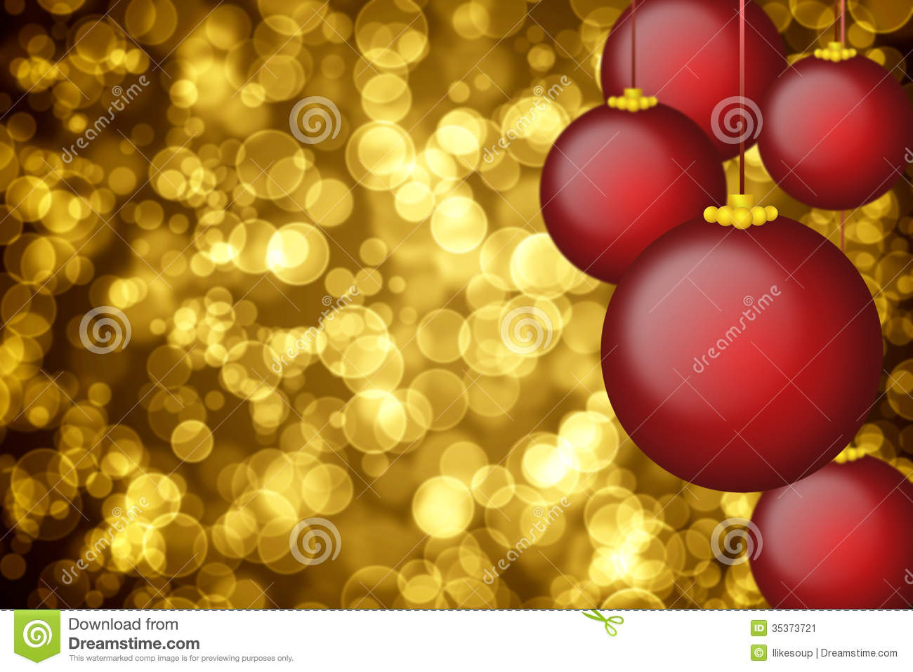 Christmas ornaments background golden holiday background with