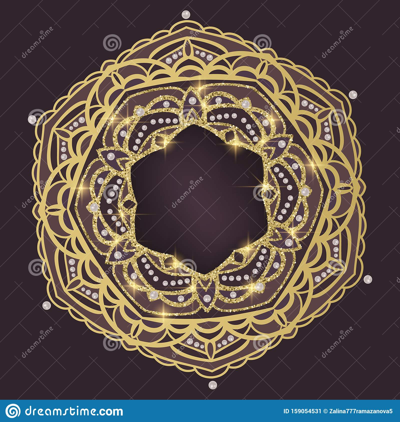 Golden Mandala With Glitter Texture On Dark Background Greeting Card With Space For Text Or Logo Vector Illustration Stock Vector Illustration Of Flower Background 159054531