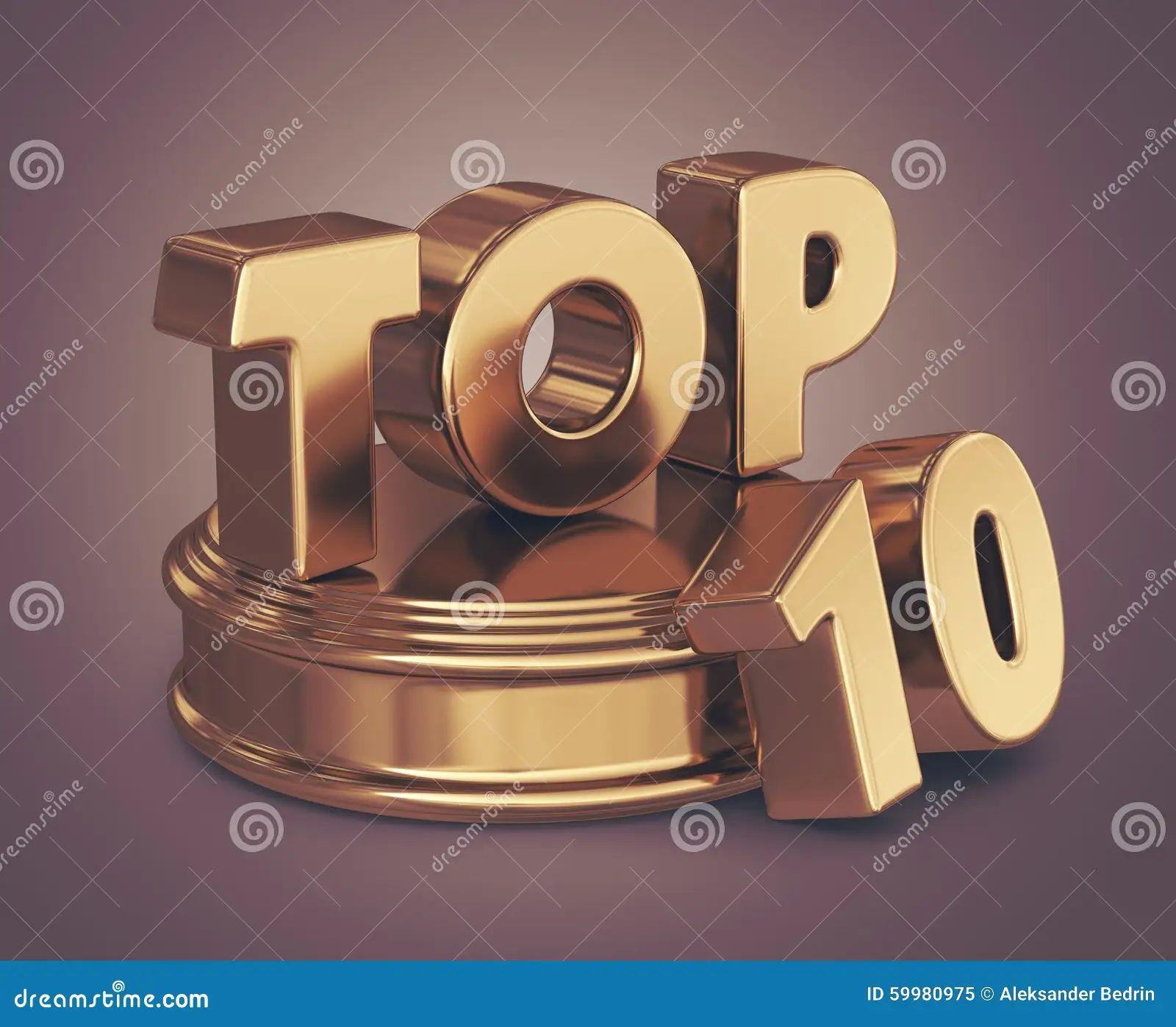 golden top 10 on podium 3d icon stock illustration