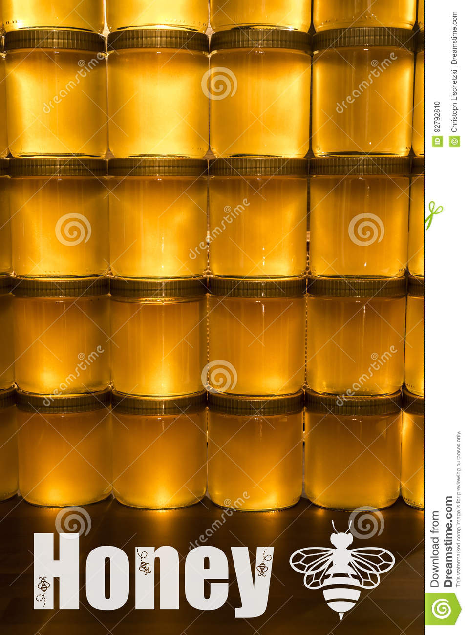 Copy Shop Koblenz Golden Yellow Honey In Glass Jar On Wooden Board Closeup Copy