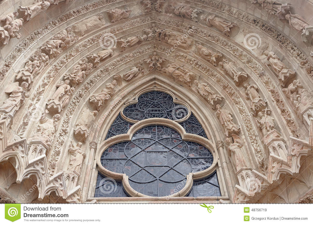 Decoration Reims Gothic Decoration Of The Cathedral Stock Photo Image