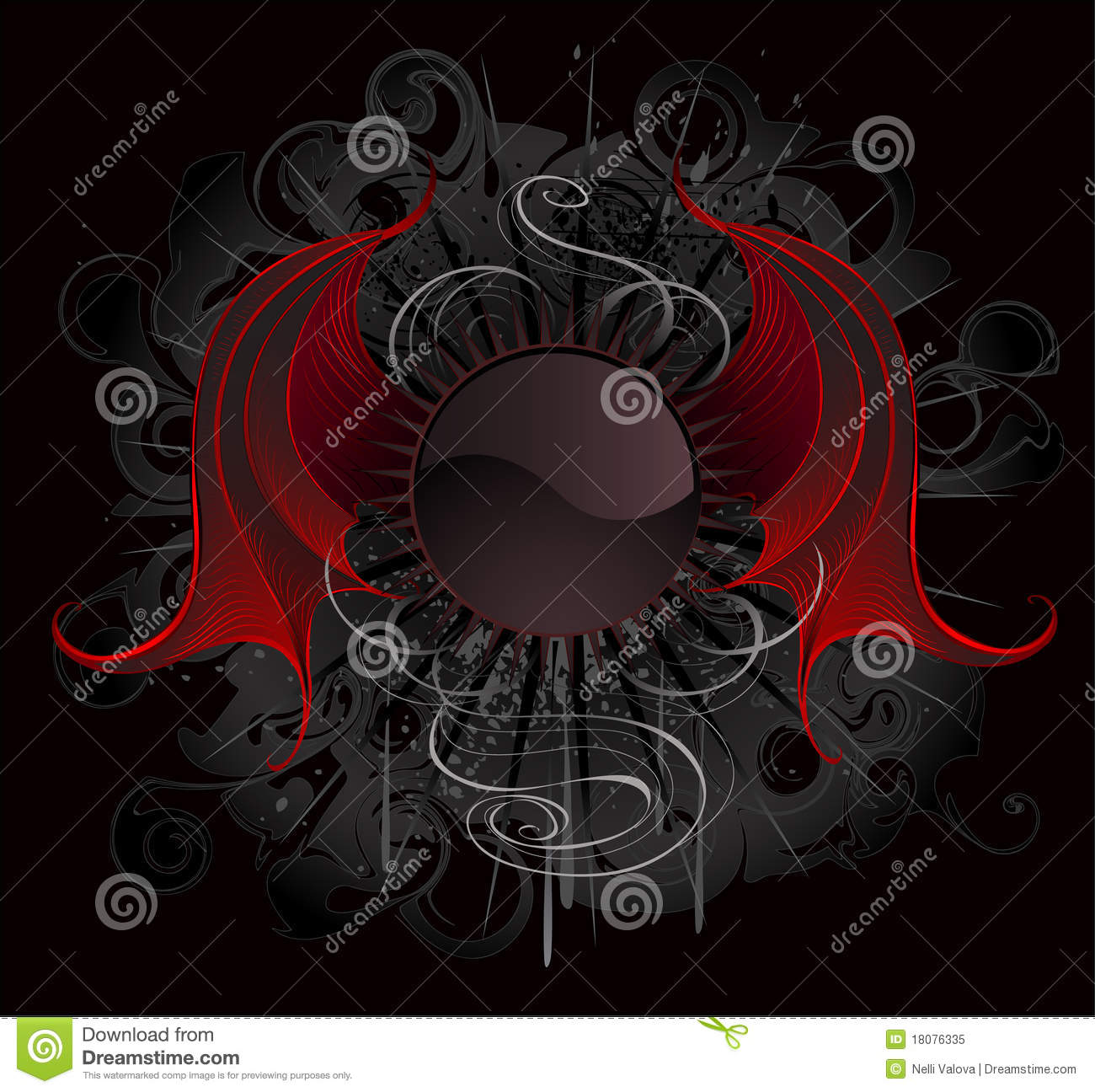Black Rose Wallpaper 3d Gothic Round Banner With The Red Wings Dragon Royalty Free