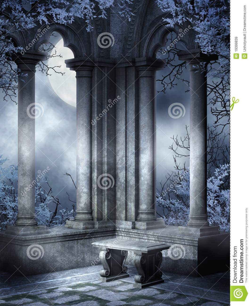 Wallpaper Stone 3d Gothic Ruins With A Bench Stock Illustration Image Of