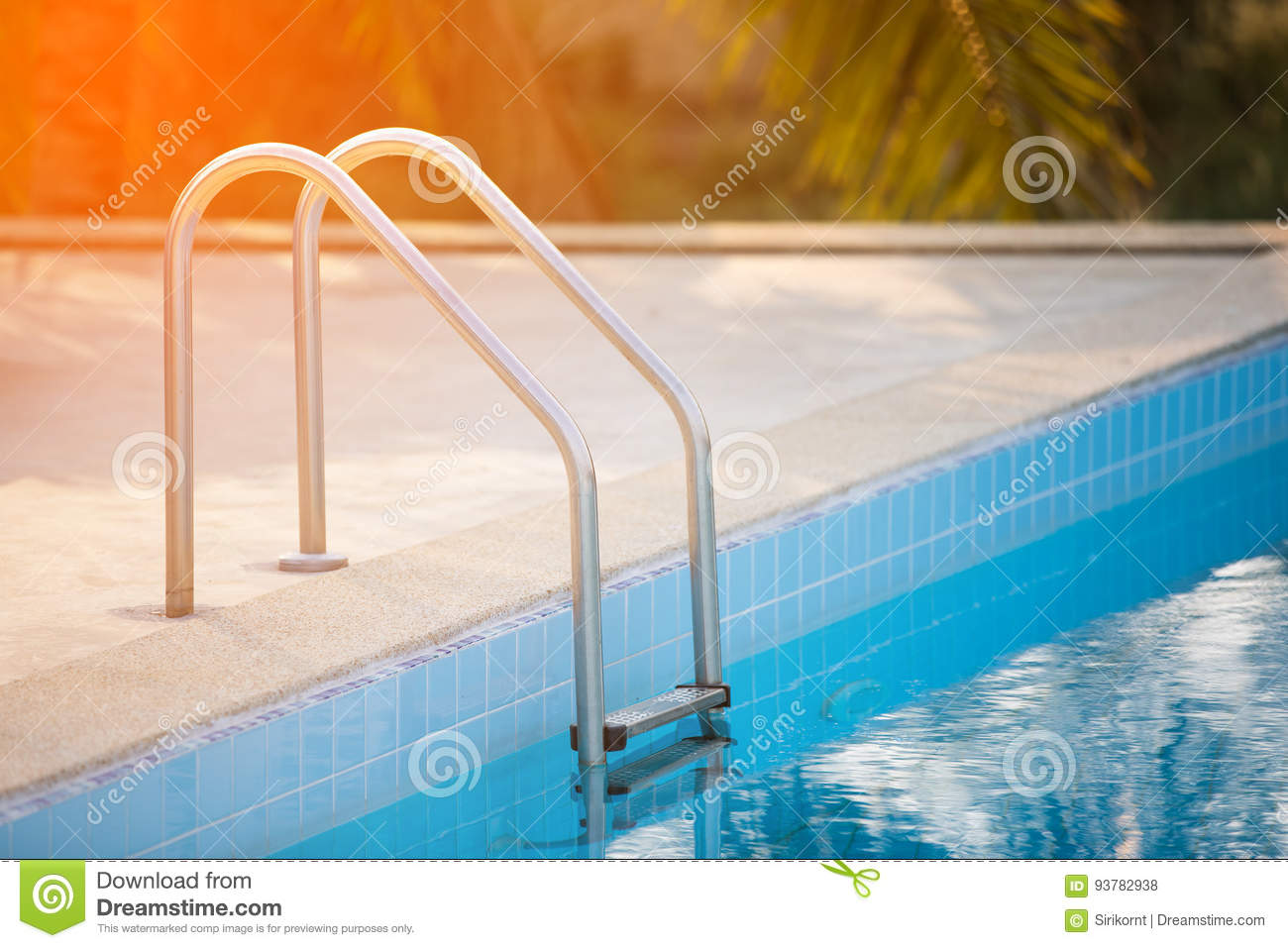 Jacuzzi Pool Ladder Grab Bars Ladder In The Blue Swimming Pool With Orange Sun