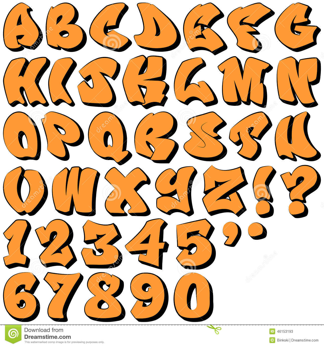3d Schrift Abc Graffiti Letters And Numbers Stock Vector Illustration Of Grunge