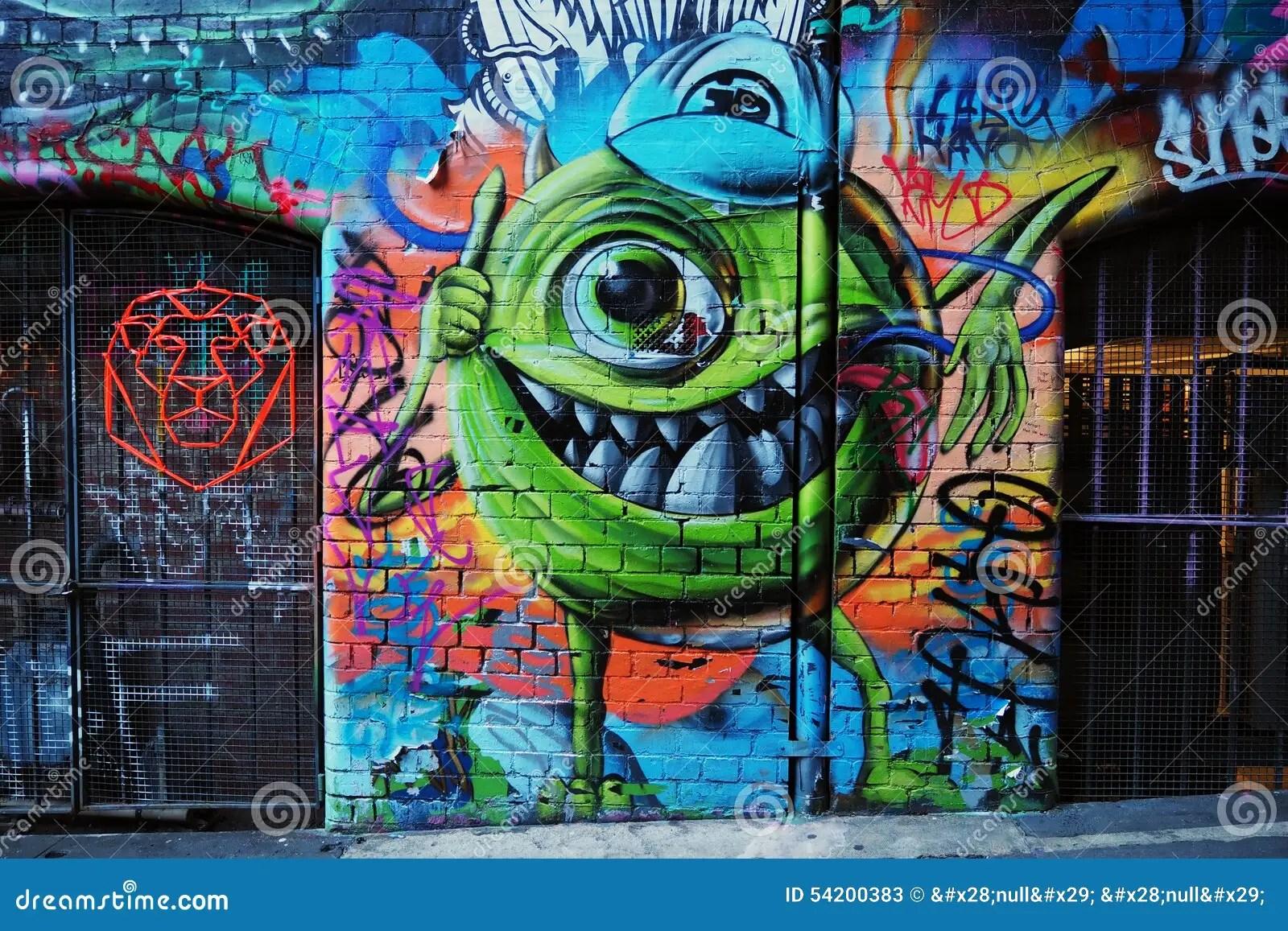 New 3d Animation Wallpaper Graffiti Monster Inc Mike Wazowski Editorial Stock Photo